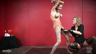 Mega busty slave Rain DeGrey is punished and banged by her mistress