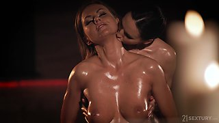 Sensual oily lesbian pussy licking massage with Tina Kay and Lilu Moon