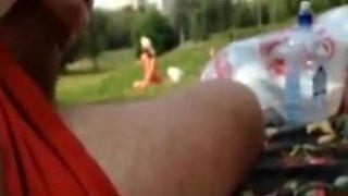 Flasher cums near girl in park