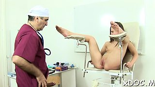 Babe got screwed in her snatch by a concupiscent doctor