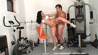 Buxom lissom gal called Krystina gets fucked by her horny coach in the gym