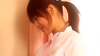 Alluring Japanese AV model plays nurse and gets banged