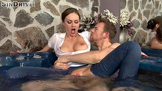 Thrilling brunette in jeans allows the guy to explore her inner depths