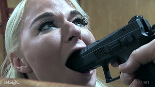 Slut with plump ass London River gets her pussy punished in the dark room