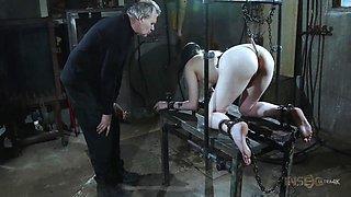 slave sierra gets a metal hook in her ass