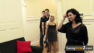 American swingers preparing an intense foursome action