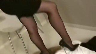 Sexy secretary ballbusting
