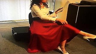 Office Girl in Satin Skirt 2
