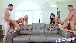 stepdaughters emma hix and katya rodriguez are put in hypnotic trance and fucked by stepdads