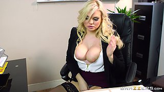 When boss hired his girl Katy Jayne he had no idea what she would do