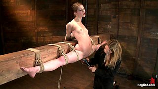 Girl Next Door, Severely Bound And Helplessstripped, Elbows Bound, Legs Split, Multi-Orgasms - HogTied