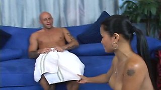 Hot oriental masseuse gives her client the erotic massage he dreams about