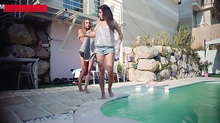 Girls have sex by the pool