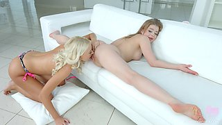 young blonde Alexa Sexy wants to fuck her lovely lesbian friend on the bed