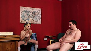 British schoolgirl voyeur instructs classmate