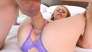 TINY4K CROTCHLESS panties - Tiny girl MEETS big dick