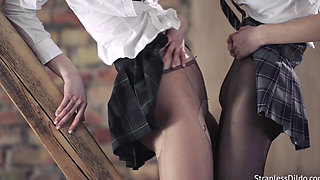 Hot Schoolgirls Play With a Dildo