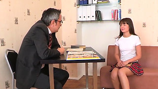 Lovable schoolgirl was seduced and rode by older inst94Tlf