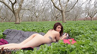 Big tits babe stripping in a green field