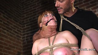 Busty chubby slave whipped and fucked