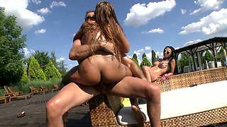 Stunning chicks Kyra Hot and Grace Joy are fucked by one well endowed dude