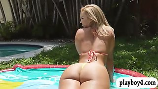 two sexy bikini babes get wild and banged hard outdoors