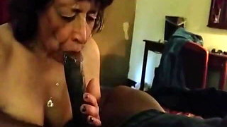 Granny sucks Black Dong & Swallow.