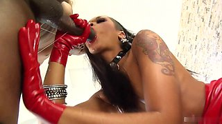 Wearing red rubber gloves, a tightly molded latex skirt, and sheer pantyhose, kinky