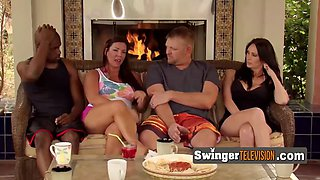 Couples enjoy having a pre party meeting at the swingers house