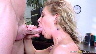 Horny busty blonde secretary motivates her boss with hardcore sex