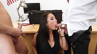 Secretary finds it hot to fuck with two men