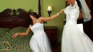 Rapacious and severe brunettes get into catfight for winning the groom's dick