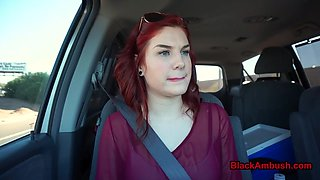 Redhead teen ambushed by black man in car