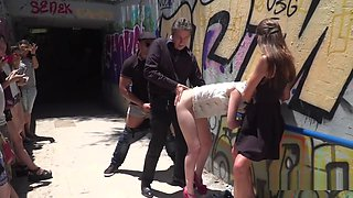 Disgraced Slave Banged In Subway Entrance