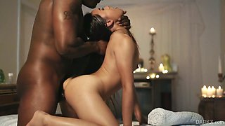 Sensual Asian babe Elle Voneva knows how to make her black fellow cum several times