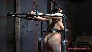 Tattooed Dana Vixen showcasing her ass in BDSM porn