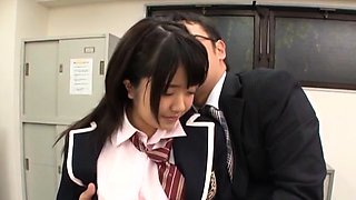 Horny schoolgirl rides a hard shlong till she cums hard