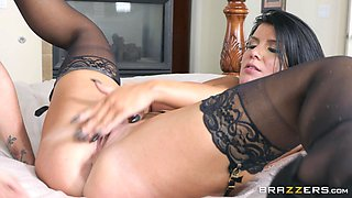 Romi Rain and Aubrey Black fuck hard while wearing lingerie