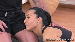Perfect brunette bangs yoga teacher