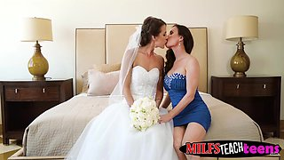 Hot MILF Diamond Foxx and teen bride get their cunts railed