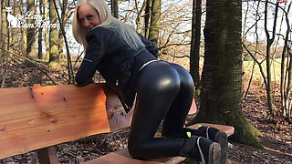 Hot blond German slut toying with her asshole