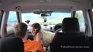 Huge tits teen fucks in driving school car
