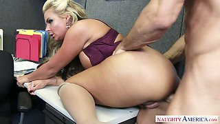 Big assed blond MILF Phoenix Marie gets her anus polished from behind tough