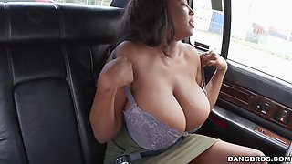 rachel raxxx shows us her giant boobs from the back seat