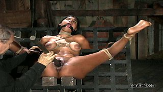 Beautiful sex-slave is punished hard with vibrator and dildo