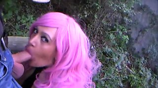 Catsuit Puppet with Pink Hair - Outdoor Blowjob Handjob with Latex Gloves - Cum on My Latex Tie