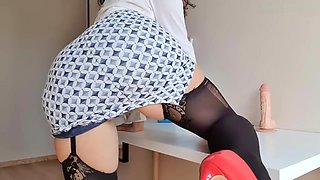 Dirty secretary has multiple orgasm and SQUIRT on your table - Mysti Life