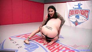 Lesbian sex wrestling as jenevieve hexxx destroys a girl