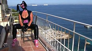 Busty Latex Slut - Blowjob Handjob with Black Latex Gloves on the Roof Terrace - Cum in my Face