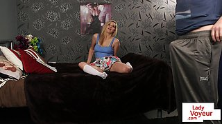 Stepbrother caught peeping instructed to wank
